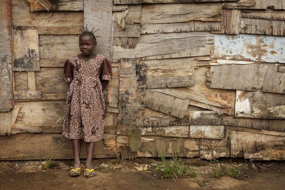 Hidden cities is a joint WHO / UN-HABITAT report about urbanization and global health issues. Photo stories from around the world reflect the hidden realities urban dwellers are facing, and highlight some health inequities.  10 year old Aisha. Poor area of Yaounde, Cameroon.