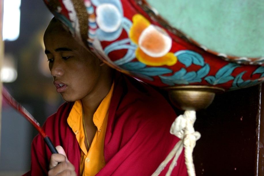 Young man in a monastery in Kalimpong.