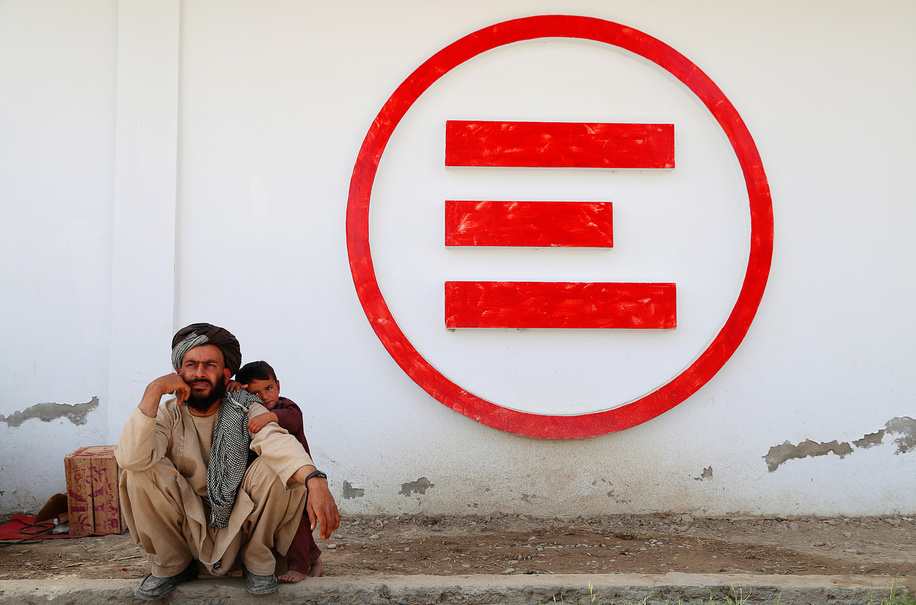 Visitors are being allowed to see the patients on Mondays & Thursdays in Emergency hospital in Lashkargha capital of Helmand, Afghanistan. 3/16/2016.