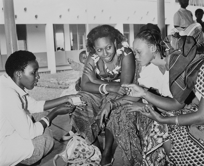 Family planning allows people to attain their desired number of children and determine the spacing of pregnancies. It is achieved through use of contraceptive methods and the treatment of infertility.  Young African wives discuss the advantages and drawbacks of the contraceptive pill with the community health worker.   c. 1980 - c. 1986