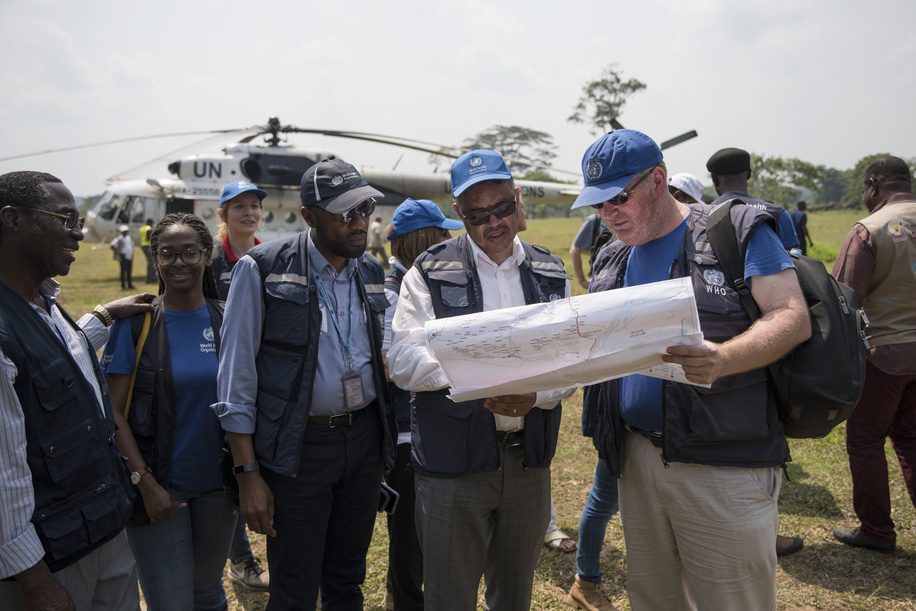 Ebola Virus Disease outbreak  On 11 June 2018, WHO Director-General Dr Tedros Adhanom Ghebreyesus arrives in Itipo.  Title of officials and WHO staff reflects their respective positions at the time the photo was taken.