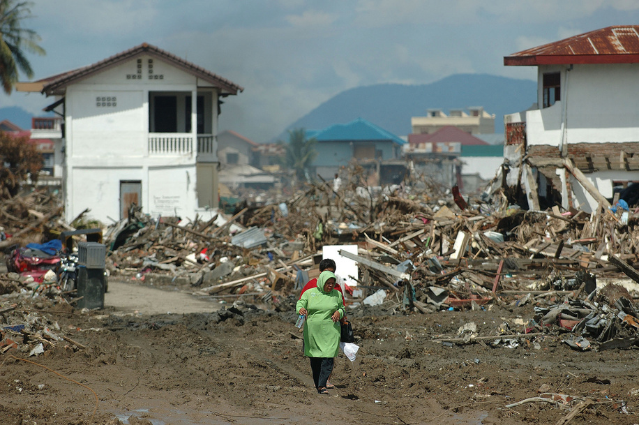 A man and woman walk through the mud, debris, and surviving structures of downtown Banda Aceh.  The tsunami on December 26, 2004 devastated the city of Banda Aceh and the west coast of Sumatra. The fear of disease was acute as the region headed into the rainy season. Tens of thousands were left homeless and living in makeshift shelters, while tens of thousands of corpses were strewn in the streets. WHO was central to the coordination of health aid and organising the deployment of a Rapid Health Assessment (RHA) Team. The RHA, which is comprised of different agencies, identified the basic needs of the affected populations that required immediate response. The coordination efforts of the WHO and partner agencies were vital in addressing significant threats to public health in the devastated areas, especially water-borne diseases. Priority initiatives included the construction of emergency shelters and mobile clinics, distribution of food aid, performance of environmental health interventions, and an assessment of the long term needs of orphans.