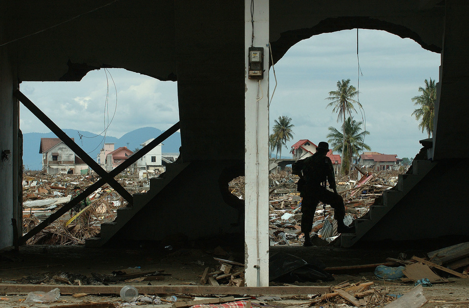 A man looks out over the ruins of downtown Banda Aceh.  The tsunami on December 26, 2004 devastated the city of Banda Aceh and the west coast of Sumatra. The fear of disease was acute as the region headed into the rainy season. Tens of thousands were left homeless and living in makeshift shelters, while tens of thousands of corpses were strewn in the streets. WHO was central to the coordination of health aid and organising the deployment of a Rapid Health Assessment (RHA) Team. The RHA, which is comprised of different agencies, identified the basic needs of the affected populations that required immediate response. The coordination efforts of the WHO and partner agencies were vital in addressing significant threats to public health in the devastated areas, especially water-borne diseases. Priority initiatives included the construction of emergency shelters and mobile clinics, distribution of food aid, performance of environmental health interventions, and an assessment of the long term needs of orphans.