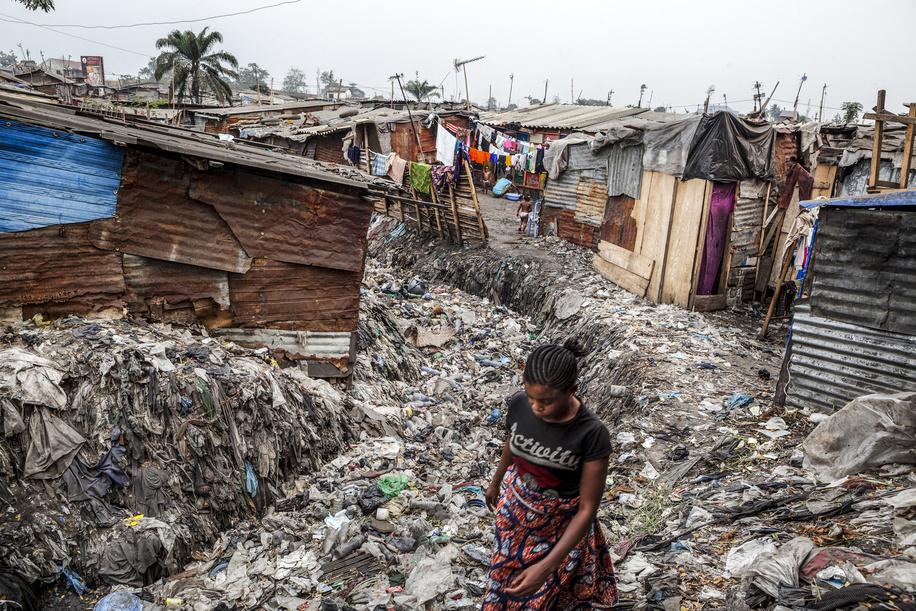 Cholera in Democratic Republic of the Congo.  Cholera is an acute enteric infection, primarily linked to insufficient access to safe water and proper sanitation.  Pakajuma Slum, one of the first settlements in Kinshasa.