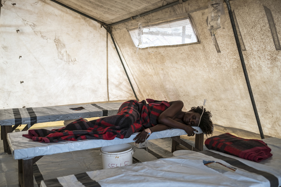 Cholera health facilities in Democratic Republic of the Congo.  A woman suffering from cholera is pictured at the MSF clinic at the slum of Pakajuma in Kinshasa.