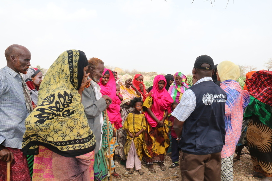 Somalia: Outbreak of Acute Watery Diarrhea - 2017  Social mobilization activities are part and parcel of the response. WHO and UNICEF risk communication officers regularly meet with communities to ensure that messages are well understood. WASH, water, sanitation