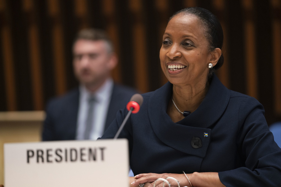 Seventy-third World Health Assembly, Geneva, Switzerland, 18-19 May 2020.  The World Health Assembly will reconvene later in the year.  The WHA73 elected Ms Keva Bain, Permanent Representative of the #BahamasFlag of Bahamas to the UN in Geneva as the President of the 73rd World Health Assembly.  Due to the current COVID-19 pandemic, the Seventy-third World Health Assembly will be virtual. The agenda has been reduced to fit into two days.  Title of the Officials and WHO staff reflects their respective positions at the time the photo was taken.