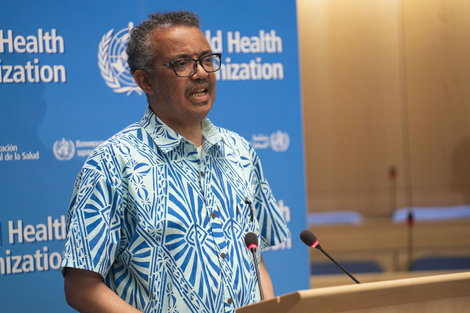 """Seventy-third World Health Assembly, Geneva, Switzerland, 18-19 May 2020.  The World Health Assembly will reconvene later in the year.  WHO Director-General, Dr Tedros Adhanom Ghebreyesus during the closing session of the 73rd World Health Assembly — 19 May 2020  The DG's closing speech to delegates of the 73rd WHA was made in a shirt from Tonga, presented to Dr Tedros last year during a visit to several islands in the Pacific, where he was welcomed by a choir of nurses. He wore the shirt again as a gesture of thanks and solidarity, in the hope that the choir expected to perform this year at the WHA will be able to travel for the WHA in 2021. In this spirit of solidarity, he thanked all Member States who have expressed their support at the Assembly, throughout the pandemic and for adopting the resolution, which calls for an independent and comprehensive evaluation of the international response – including, but not limited to, WHO's performance. """"We welcome any initiative to strengthen global health security, and to strengthen WHO, and to be more safe.   As always, WHO remains fully committed to transparency, accountability and continuous improvement. We want accountability more than anyone"""". He also thanked the members of the Independent Oversight Advisory Committee for their continuous work to review WHO's work in health emergencies, and in particular for their report on the COVID-19 response published yesterday, that covers from the start of the pandemic until April. He reminded delegates that inspire of all our differences, we are one human race, and we share the same planet. COVID-19 has taken from us, but it has also given a reminder of what really matters, and the opportunity to forge a common future.  Title of the Officials and WHO staff reflects their respective positions at the time the photo was taken."""