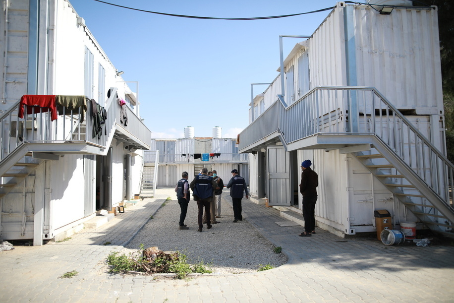 COVID-19: OCCUPIED PALESTINIAN TERRITORY  On 22 March 2020, WHO staff visit a co-located quarantine facility next to the new Rafah Crossing Field Hospital in the Gaza Strip. The quarantine facility includes 50 rooms for quarantined travellers.
