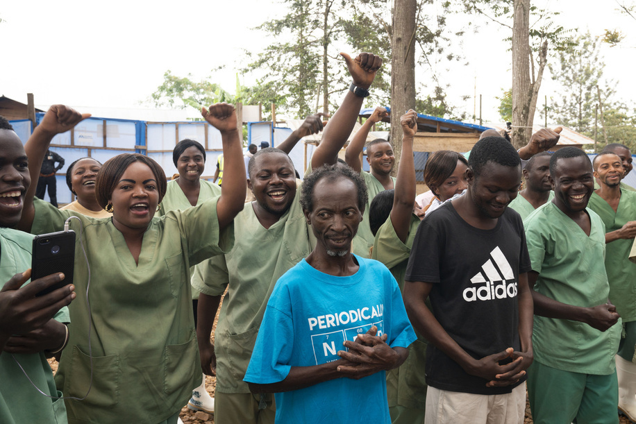 WHO's response to Ebola virus disease (EVD) outbreak in the Democratic Republic of Congo.  Two survivors are discharged from the International Medical Corps (IMC) Ebola Treatment Centre (ETC).