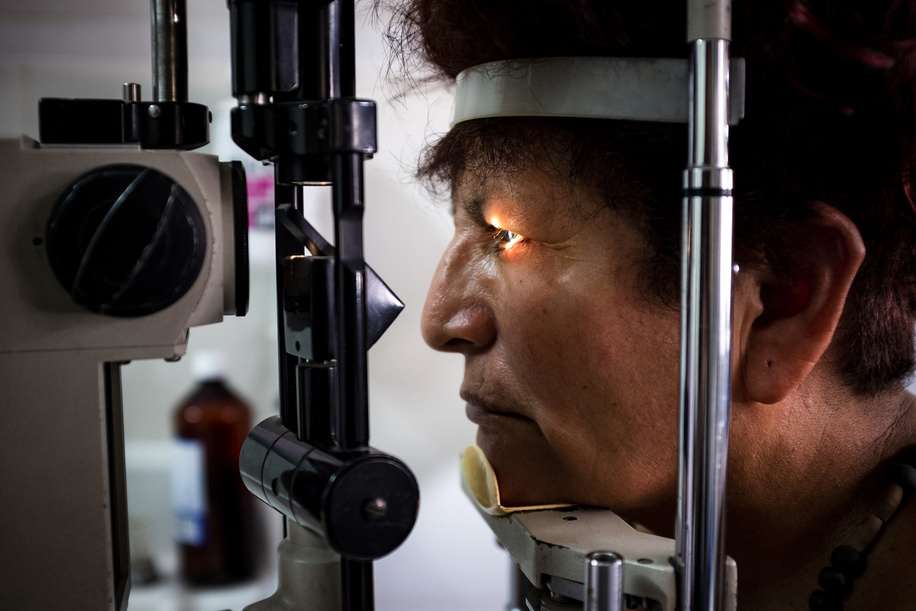Lima - 21 March, 2018: Clotilde Rojas Villanueva, 59 during an eye fundus examination at Maria Auxiliadora Hospital in LIma. Five years ago she was diagnosed with diabetic retinopathy.