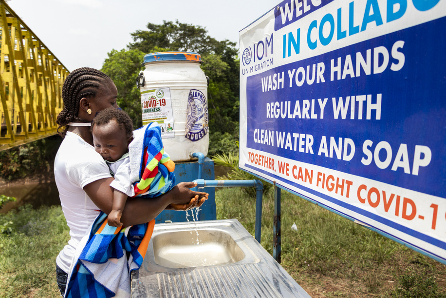 On 1 March 2021, people return wash their hands at Ganta border post on the Guinea/Liberia border. Special measures have been implemented at the border for travellers to have their temperature checked and to be able to wash their hands in order to help prevent the spread of Ebola.  In response to the Ebola outbreak in neighbouring Guinea, with support from WHO and partners, the Liberian government has implemented a number of Ebola preparedness measures to help prevent the spread of the virus.