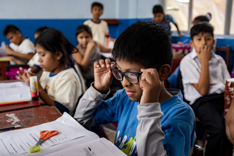 Lima - 22 March, 2018: Samir Gustavo Rosales Lopez trying his new glasses at his school, Ramiro Prialé Educational Institution in Lima.