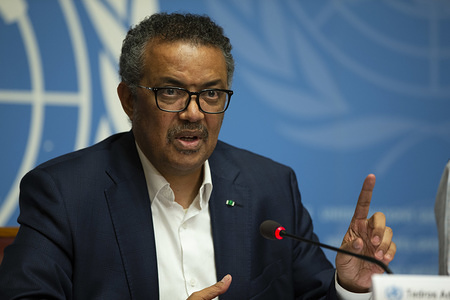 """On 14 March 2019, WHO Director-General, Dr Tedros Adhanom Ghebreyesus briefed the Press at UN Geneva on Ebola in the Democratic Republic of Congo.   """"We will stay the course and will work with communities in DRC not only to end the Ebola outbreak, but to build stronger health systems"""""""
