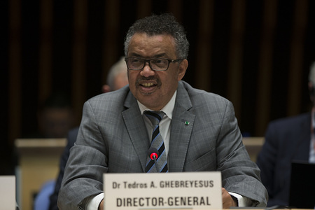 The UN Interagency Coordination Group (IACG) on Antimicrobial Resistance Secretariat organized an Information Session for Member States and Permanent Missions in Geneva, Switzerland, on 1 October 2018. The meeting was attended by WHO Director-General Dr Tedros Adhanom Ghebreyesus, and co-chair of the IACG, H.E. Mrs Tina Mensah, Deputy Minister of Health of Ghana, and Ms Veronika Bard, Ambassador, Permanent Mission of Sweden. The Information Session brought together officials from Member States and partners who were attending the 2nd Consultation of Member States and Partners on the Global Development and Stewardship Framework to Combat Antimicrobial Resistance as well as the diplomatic community in Geneva. The information session was intended to provide an update on the progress of the IACG and obtain feedback from participants on the IACG process and deliverables.  Title of officials and WHO staff reflects their respective positions at the time the photo was taken.