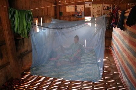 Feature about malaria in Cambodia  Underneath the house residents nap in mosquito hammocks.