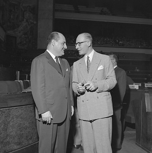 Sixth World Health Assembly (WHA6), Geneva, 5 - 22 May 1953  Dr Marcolino Gomes Candau (left) of Brazil talks with Dr Gerardo Segura, Director de Politica Sanitaria International, Argentina during the Sixth World Health Assembly. Dr Candau was nominated by the WHO Executive Board on 27 January 1953 to fill the post of Director-General of WHO. - Title of WHO staff and officials reflects their respective position at the time the photo was taken.