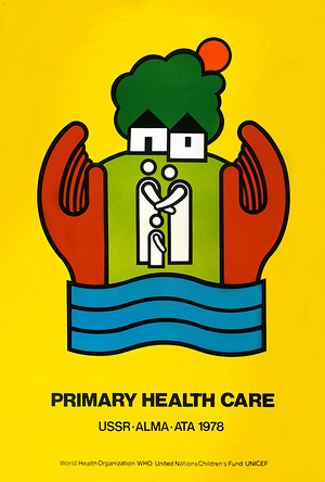 Convened by WHO and UNICEF, the International Conference on Primary Health Care, which met at Almaty, Kazakhstan (at that time Alma-Ata, USSR), in September 1978, adopted a declaration which calls for urgent and effective international and national action to develop and implement primary health care throughout the world and particularly in developing countries.  Official poster for the International Conference on Primary Health Care, Alma-Ata, USSR, 6-12 September 1978.