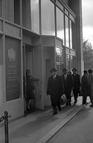 WHO ex-headquarters at the Palais des Nations in Geneva  Entrance to WHO headquarters in Geneva. - c.1960