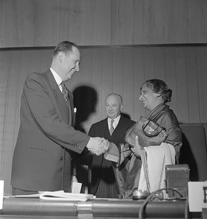 Fourth World Health Assembly (WHA4), Geneva, 7 - 25 May 1951  (Left) Dr Leonard A. Scheele, United States Surgeon-General and Chief of the U.S. Delegation, was unanimously elected President of the Fourth World Health Assembly, which opened Monday, 7 May, at the Palais des Nations, Geneva. In this office he succeeds Rajkumari Amrit Kaur, India's Health Minister (right). Dr Brock Chisholm, Director-General of the World Health Organization (centre). - Title of WHO staff and officials reflects their respective position at the time the photo was taken.