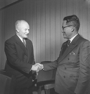 Fifth World Health Assembly (WHA5), Geneva, 5 - 22 May 1952  (Left) Dr Brock Chisholm, Director-General of the World Health Organization, and Dr Juan Salcedo, Secretary of Health, Philippines, and President of the Fifth World Health Assembly. - Title of WHO staff and officials reflects their respective position at the time the photo was taken.