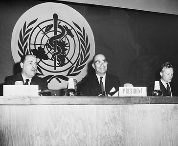 Eighth World Health Assembly (WHA8), Mexico, D.F., 10 - 27 May 1955  From left to right: Dr Marcolino G. Candau, Director-General of the World Health Organization and Dr Ignacio Morones Prieto (Mexico), President of the Eighth World Health Assembly. - Title of WHO staff and officials reflects their respective position at the time the photo was taken.