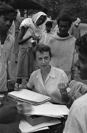 A Belgian leprologist, Dr M. Hemmerjiks, helped the Government of India to fight leprosy. Dr Hemmerjiks was sent to India by a Belgian charitable organization - a realistic form of thanks for the shipments of tea which the Government of India sent to Belgium in 1954 for those Belgians made homeless by the great flood.  A European nurse, a member of Dr Hemmerjiks' team, registers patients.  c.1959