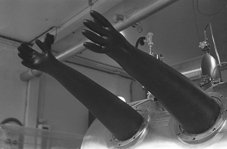 Gloves for working inside the germ-free isolation chamber.