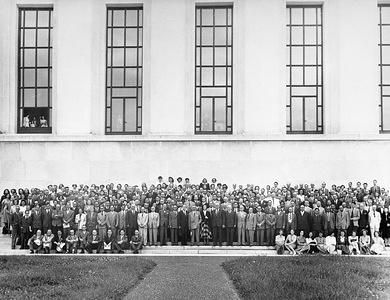 First World Health Assembly (WHA1), Geneva, 24 June - 24 July 1948.  The First World Health Assembly opened in the Palais des Nations, Geneva, on 24 June, 1948, with 53 of the Organization's 55 Member States represented, as well as 9 countries not yet members. In all, 261 persons attended, including observers from the United Nations and five Specialized Agencies. The First World Health Assembly, under its President, Dr Andrija Stampar of Yugoslavia, faced a task without precedent, for the Organization, working on new principles had been given wider powers that any previously working in the field of Health.  The staff of the World Health Organization in 1948 at the Palais des Nations, Geneva. - Title of WHO staff and officials reflects their respective position at the time the photo was taken.