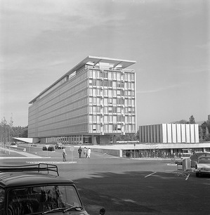 WHO under its own roof - 1966: WHO moves into its own building after 20 years in the Palais des Nations.  General view of the WHO headquarters building in Geneva, Switzerland.