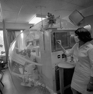 Immunotherapy affects the body's immunological defence mechanism and may reduce the patient's resistance to microbes. A new technique consists in using a so-called ''life-island'', a bed enclosed in a clear plastic bubble. The patient inside breathes bacterial-free filtered air. Even the food is specially prepared and passed to the patient using a double-door system.