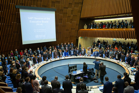 EB Members and WHO Secretariat observe a minute's silence in tribute to Dr Peter Salama, Executive Director of WHO's Division for Universal Health Coverage – Life Course.  <a target='_blank' href='https://www.who.int/news-room/detail/24-01-2020-who-mourns-passing-of-dr-peter-salama'>https://www.who.int/news-room/detail/24-01-2020-who-mourns-passing-of-dr-peter-salama</a>   Dr Peter Salama passed away suddenly on 23 January 2020.