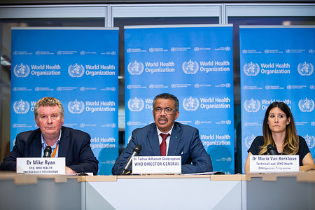 Coronavirus Briefing, 4 February 2020  WHO Emergencies coronavirus Press Conference in the WHO Strategic Health Operations Centre (SHOC) room. Geneva, Switzerland, 6 February 2020.  The conference was held by WHO Director-General, Dr Tedros Andhanom Ghebreyesus, WHO Executive Director, Health Emergencies Programme (HEO), Dr Michael Ryan and WHO Technical Lead on the COVID-19 Dr Maria Van Kerkhove.  Title of officials and WHO staff reflects their respective positions at the time the photo was taken.  Press Conference transcription: https://www.who.int/docs/default-source/coronaviruse/transcripts/trancription-who-audio-coronavirus-press-conference-06feb2020-final.pdf?sfvrsn=a6433f0b_2