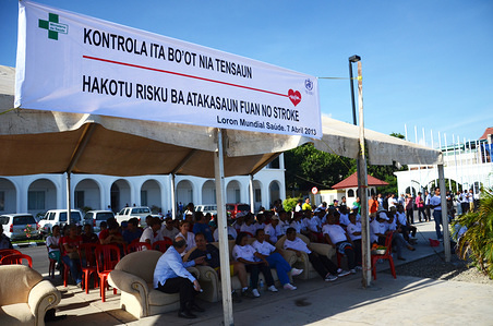 World Health Day 2013 celebration by Ministry of Health in Timor-Leste.  The theme for World Health Day 2013 is controlling high blood pressure.