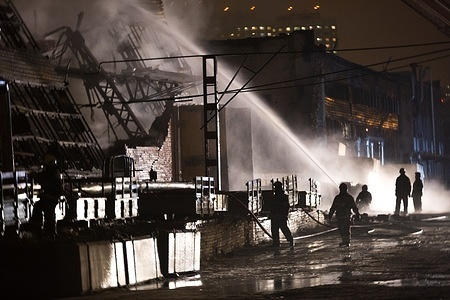 Fire emergency in Russia  A fire brigade is working to set down the fire at a plant, Moscow.