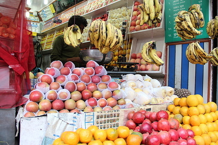 Market scenes in Nepal  Fruits shop with orange, banana, apple, pomegranate. - Caption has been provided by the photographer and has not been edited by technical units.