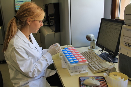International Agency for Research on Cancer (IARC) in France  IARC biological laboratories.  Researcher indexing the samples. Biological analysis of cells  is crucial to improve cancer treatment and prevention. Biological laboratories at IARC are used by WHO scientific researchers to improve global knowledge about cancer. For instance, several tanks contain 6 million human samples collected from 1,5 million healthy people all over the world. They are stored at IARC for several decades in liquid nitrogen at minus 196°C. Metadata about the living conditions and lifestyles of these people are stored and when some of these people develop cancer, researchers can compare the DNA of these stored healthy cells with the one collected from their tumours.