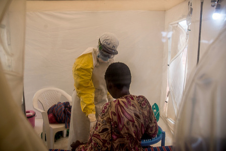 ALIMA Ebola Treatment Centre  In August 2018,  the Alliance for International Medical Action (ALIMA) opens an Ebola Treatment Centre (ETC) located in the General Referral Hospital of Beni in response to the Ebola outbreak in Democratic Republic of Congo.   The ETC provide therapeutics under the monitored emergency use of unregistered and experimental interventions (MEURI) protocol in collaboration with MoH (Ministry of Health) and Institut National de Recherche Biomédicale (INRB).   WHO is providing technical expertise support on site and assisting with the creation of a data safety management board. - The CUBE  ALIMA has pioneered a new type of treatment facility called the CUBE or the Biosecure Emergency Care Unit which is a is a significant improvement in rapid response to disease outbreaks.  See : https://www.alima-ngo.org/ - Caption was not provided by the photographer. Therefore, a generic caption has been applied to this image.
