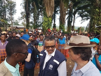 WHO's response to Ebola virus disease (EVD) outbreak in the Democratic Republic of Congo.  WHO Director-General Dr Tedros Adhanom Ghebreyesus visits the MSF facility under construction in Mangina.  Taking a new step in its response to the current Ebola outbreak in North Kivu, Médecins Sans Frontières (MSF) opened a treatment centre on Tuesday 14 August in Mangina, a small town considered to be the epicentre of the outbreak. - Caption was not provided by the photographer. Therefore, a generic caption has been applied to this image.