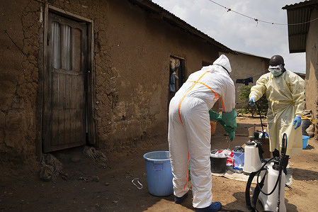 WHO's response to Ebola virus disease (EVD) outbreak in the Democratic Republic of Congo.  A team disinfects a home and personal effects belonging to persons who have died from Ebola.