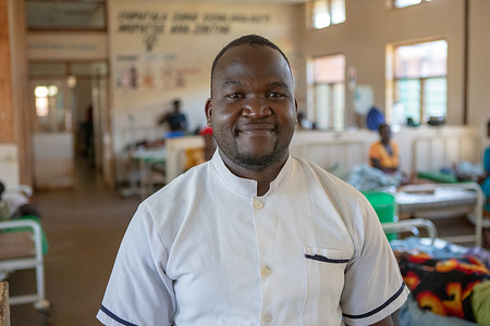 Malaria Vaccination Launch in Malawi.  Pediatric nurse David Banda takes care of up to 20 malaria patients a month at Ntchisi District Hospital. He became ill with malaria himself last year.
