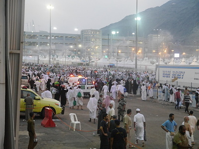 Health preparation for the hajj pilgrimage in the Kingdom of Saudi Arabia  As an estimated 2 million Muslims from 184 countries gather in Saudi Arabia's holy city of Mecca to take part in the annual hajj pilgrimage, months of preparations to care for health issues of pilgrims are also coming together.   The World Health Organization (WHO) and the Government of Saudi Arabia work together to ensure the health issues that could arise with any mass gathering of people can be addressed.   Health facilities are widely spread across the Kingdom of Saudi Arabia (KSA), from main entry points, and Hajj zones all the way to the Holy Sites and Madinah. Every facility is well-equipped for all purposes, be it preventive, diagnostic, therapeutic, ambulatory care or even awareness.  Read more: http://www.emro.who.int/media/news/preparations-in-place-as-hajj-begins.html  https://www.moh.gov.sa/en/Ministry/MediaCenter/Publications/Pages/Publications-2015-08-24-001.aspx  - Caption was not provided by the photographer. Therefore, a generic caption has been applied to this image.