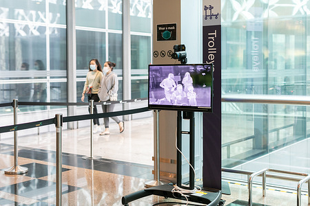 A thermal infrared scanner in operation during the COVID-19 pandemic at the entrance of Singapore's Changi Airport Terminal 3.