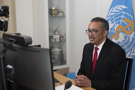 Seventy-third World Health Assembly, Geneva, Switzerland, 9-14 November 2020 (Resumed).  WHO Director-General, Dr Tedros Adhanom Ghebreyesus addressed the resumed session of the 73rd World Health Assembly via a remote virtual connection.  The resumed WHA73 took place virtually from 9-14 November 2020, in light of the ongoing COVID-19 pandemic.  The resumed session follows the reduced (de minimis) meeting of 18-19 May 2020.  The World Health Assembly is the decision-making body of WHO. It is attended by delegations from all WHO Member States and focuses on a specific health agenda prepared by the Executive Board. The main functions of the World Health Assembly are to determine the policies of the Organization, appoint the Director-General, supervise financial policies, and review and approve the proposed programme budget. The Health Assembly is held annually in Geneva, Switzerland.
