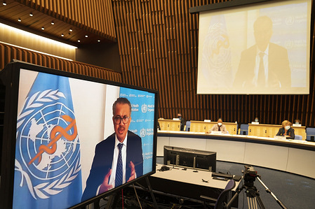 Seventy-third World Health Assembly, Geneva, Switzerland, 9-14 November 2020 (Resumed).  WHO Director-General, Dr Tedros Adhanom Ghebreyesus.  The resumed WHA73 took place virtually from 9-14 November 2020, in light of the ongoing COVID-19 pandemic.  The resumed session follows the reduced (de minimis) meeting of 18-19 May 2020.  The World Health Assembly is the decision-making body of WHO. It is attended by delegations from all WHO Member States and focuses on a specific health agenda prepared by the Executive Board. The main functions of the World Health Assembly are to determine the policies of the Organization, appoint the Director-General, supervise financial policies, and review and approve the proposed programme budget. The Health Assembly is held annually in Geneva, Switzerland.