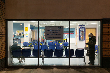 The COVID-19 vaccination entrance at Evergreen Primary Care Centre in the London borough of Enfield in the United Kingdom of Great Britain and Northern Ireland, on 24 January 2021.