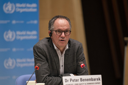 WHO Food Safety Scientist, Dr Peter Ben Embarek, Scientist and team lead for the International Team (WHO-convened Global Study of the Origins of SARS-CoV-2) at the virtual press conference (VPC) in Geneva, Switzerland.  Title of WHO staff and officials reflects their respective position at the time the photo was taken.  -  Read the transcript: <a target='_blank' href='https://www.who.int/publications/m/item/covid-19-virtual-press-conference-transcript---12-february-2021'>https://www.who.int/publications/m/item/covid-19-virtual-press-conference-transcript---12-february-2021</a>