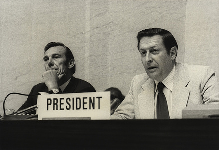 Twenty-eighth World Health Assembly (WHA28), Geneva, 13-30 May 1975  Dr Douglas N. Everingham (Australia), Vice-President of the 28th WHA, took the chair during a plenary meeting of the Assembly. - Title of WHO staff and officials reflects their respective position at the time the photo was taken.